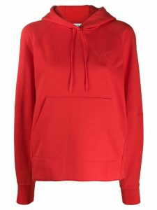 Y-3 logo-embossed hoodie - Red
