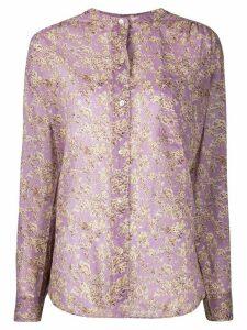 Isabel Marant Étoile foliage-print mandarin collar shirt - PURPLE