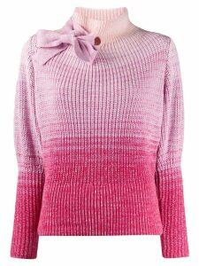 Self-Portrait tie-neck ombré jumper - PINK