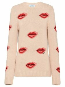 Prada lips print jumper - NEUTRALS