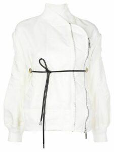 Sacai wrap-around bomber jacket - White