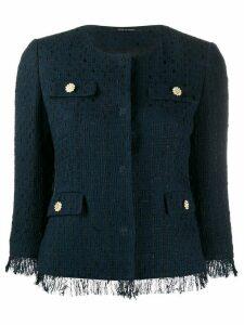 Tagliatore Meg tweed style cropped jacket - Blue