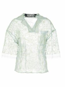Jacquemus sheer lace shirt - Blue