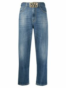 Pinko logo-buckle belted jeans - Blue