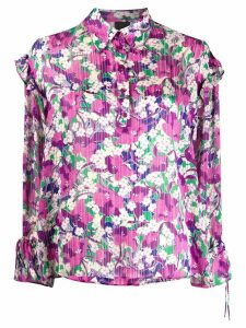 Pinko floral-print ruffled blouse - PURPLE