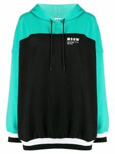 MSGM colour-block hooded sweatshirt - Black