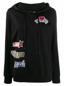 Love Moschino logo patch hoodie - Black