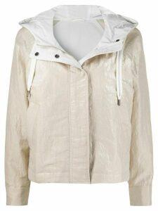 Brunello Cucinelli hooded boxy rain jacket - NEUTRALS