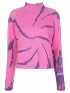 The Elder Statesman long sleeve tie-dye print cashmere top - PINK