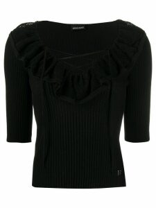 Ermanno Ermanno ruffle trim tie front knitted top - Black