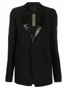 Rick Owens contrast panel deep V-neck blazer - Black