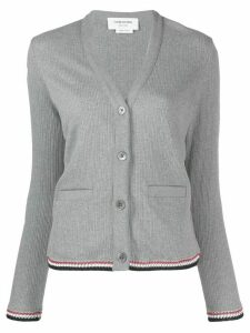Thom Browne ribbed jacquard V-neck cardigan - Grey