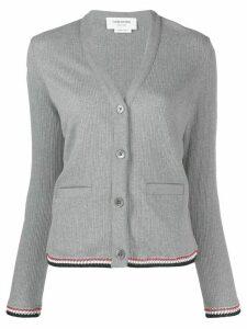 Thom Browne ribbed jacquard V-neck cardigan - Grey