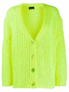 Ermanno Ermanno chunky knit distressed detail cardigan - Yellow