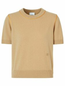 Burberry contrast trim monogram motif T-shirt - NEUTRALS