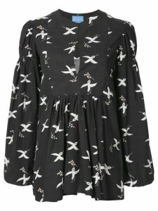 Macgraw bird print puff sleeve blouse - Black