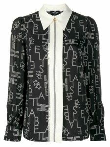 Elisabetta Franchi graphic logo printed blouse - Black