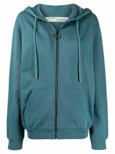 Off-White zip-up cotton hoodie - Blue