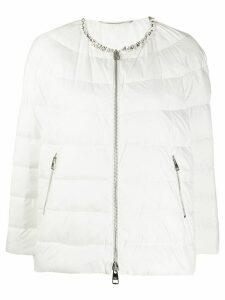 Ermanno Scervino embellished-collar puffer jacket - White