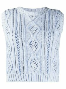 Ermanno Ermanno sleeveless cut-out detail knitted top - Blue