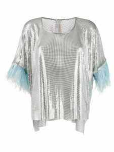 Christopher Kane chain mail feather-trimmed top - SILVER