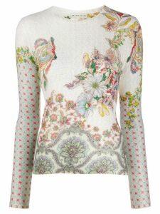 Etro floral brocade knit top - NEUTRALS
