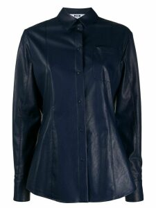 MSGM long-sleeved faux leather shirt - Blue