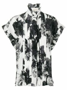 Alexandre Vauthier floral print pleated blouse - Black