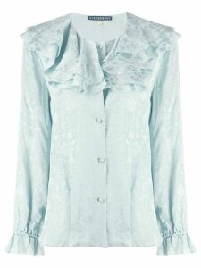 Alexa Chung ruffled neck floral shirt - Blue