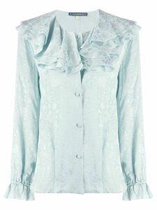 Alexa Chung ruffled neck floral shirt - Blue