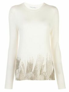 Oscar de la Renta beaded hem jumper - White