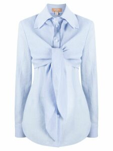 Matériel layered tie-front shirt - Blue