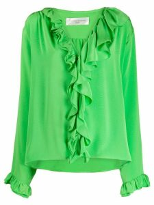 Victoria Beckham V-Neck ruffled blouse - Green