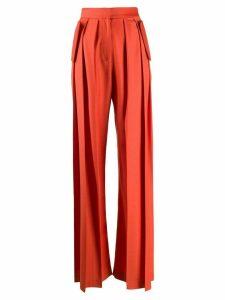 Matériel pleated wide-leg trousers - ORANGE