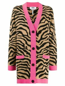 MSGM oversized zebra-jacquard cardigan - Brown