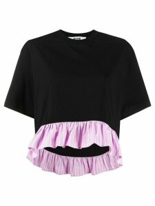 MSGM ruffle-trimmed cropped T-shirt - Black