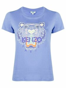 Kenzo Tiger-embroidered logo T-shirt - Blue