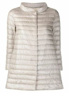 Herno funnel-neck mid-length quilted jacket - Grey