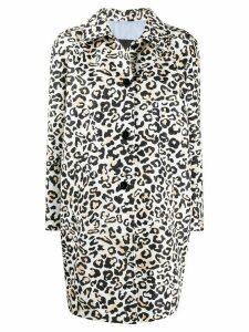 Ermanno Ermanno leopard print buttoned coat - Brown