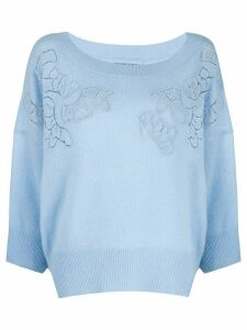 Ermanno Scervino cashmere floral embroidered jumper - Blue