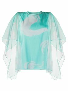 Kenzo sheer-sleeve tulle blouse - Green