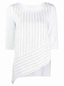 stagni 47 asymmetric striped panel top - White