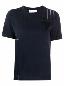 stagni 47 asymmetric contrast stitching T-shirt - Blue