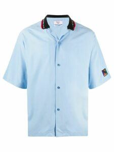 Martine Rose logo collar patch detail shirt - Blue