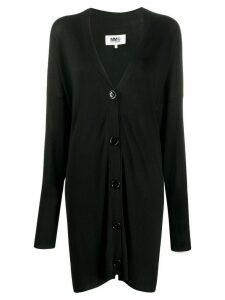 Mm6 Maison Margiela oversized logo-jacquard cardigan - Black