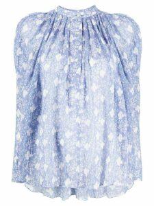 Isabel Marant Emsley floral-print textured blouse - Blue