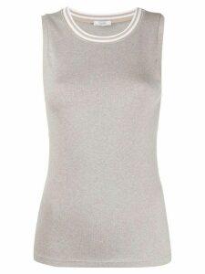 Peserico striped collar cotton blend vest - Brown