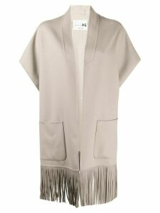 Manzoni 24 fringed short-sleeve overcoat - NEUTRALS