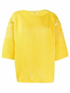Ermanno Scervino floral lace detailed jumper - Yellow