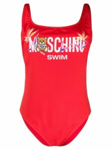 Moschino logo-printed one-piece - Red